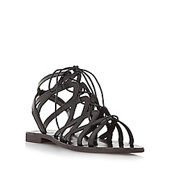 Dune - Black 'Louella' lace up leather gladiator sandal