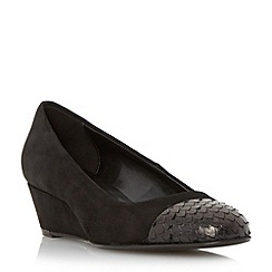 Dune - Black 'Angela' contrast toe cap wedge  court shoe