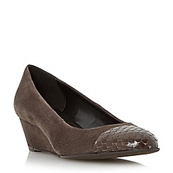 Dune - Taupe 'Angela' contrast toe cap wedge  court shoe