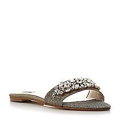 Dune - Gold 'Nahala' jewel vamp flat mule sandal