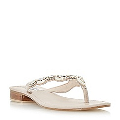 Dune - Natural 'Nyla' jewel beaded toe post sandal