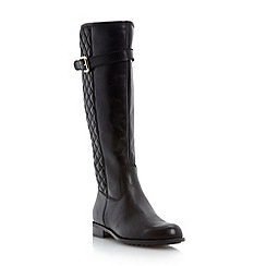 Dune - Black quilted knee hight leather boot