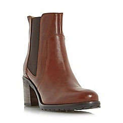 Dune - Tan 'Pheonix' stacked heel leather chelsea boot