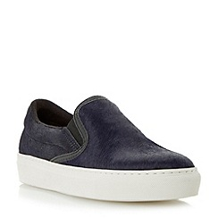 Dune - Navy textured slip on shoe with vulcanised sole