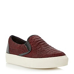Dune - Burgundy textured slip on shoe with vulcanised sole