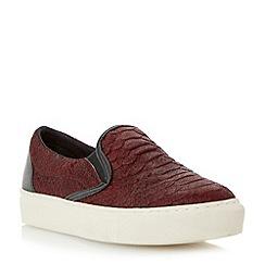 Dune - Burgundy textured slip on shoe with vulcanised sole