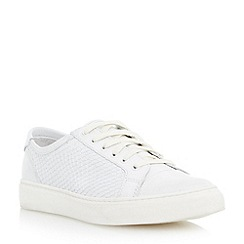 Dune - Neutral pointed toe reptile print leather trainer