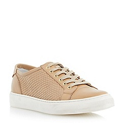 Dune - Brown pointed toe reptile print leather trainer