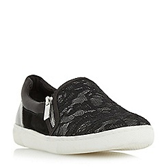 Dune - Black 'Edgar' mixed material slip on shoe