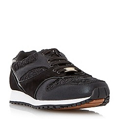 Dune - Black 'Edmonds' mixed material fashion trainer