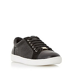 Dune - Black 'Edgware' mixed material round toe trainer
