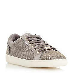 Dune - Grey 'Edgware' mixed material round toe trainer