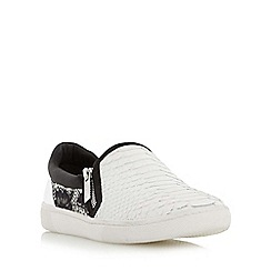 Dune - White 'Edgar' mixed material slip on shoe