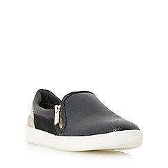 Dune - Black 'Edgar' mixed material slip on shoe