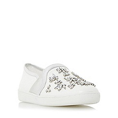 Dune - White 'Echoe' jewel embellished slip on shoe