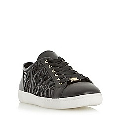 Dune - Black 'Elley' laser cut lace up trainer
