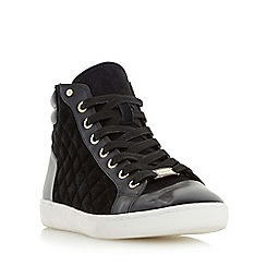 Dune - Black 'Entourage' quilted high top lace up trainer
