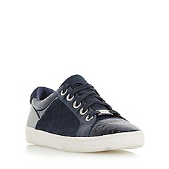 Dune - Navy 'Euston' mixed material lace up trainer