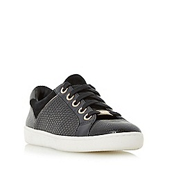 Dune - Dark grey 'Euston' mixed material lace up trainer