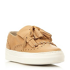 Dune - Camel 'Erynn' fringe and tassel detail slip on trainer