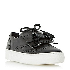 Dune - Black 'Erynn' fringe and tassel detail slip on trainer