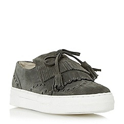 Dune - Grey 'Erynn' fringe and tassel detail slip on trainer