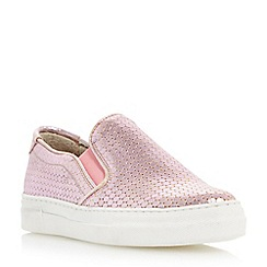 Dune - Pink 'Ellan' metallic slip on trainer