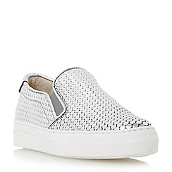 Dune - Silver 'Ellan' metallic slip on trainer