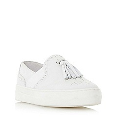 Dune - White 'Etsie' tassel brogue slip on trainer