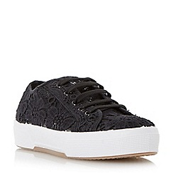 Dune - Black lace detail round toe trainer