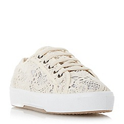 Dune - Neutral lace detail round toe trainer
