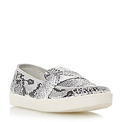 Dune - Grey reptile print loafer style trainer