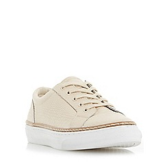 Dune - Light pink 'Elisa' pointed toe reptile effect leather trainer