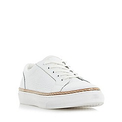 Dune - White 'Elisa' pointed toe reptile effect leather trainer