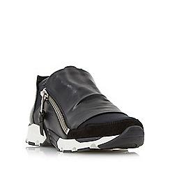 Dune - Black 'Edge' side zip leather panel trainer
