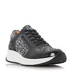 Dune - Black mixed material lace up trainer