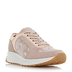Dune - Pink mixed material lace up trainer