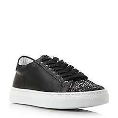 Dune - Black glitter toecap leather trainer