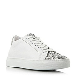 Dune - Neutral glitter toecap leather trainer