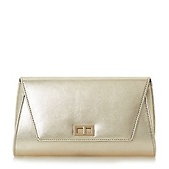 Head Over Heels by Dune - Gold 'Barlina' turn lock flap over clutch bag