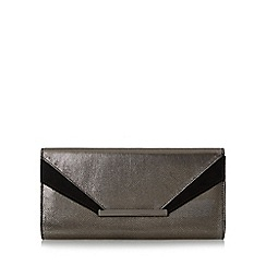 Head Over Heels by Dune - Silver 'Bernice' mixed material flap over clutch bag