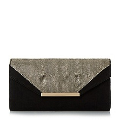 Head Over Heels by Dune - Gold 'Bernice' mixed material flap over clutch bag