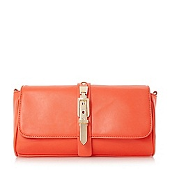 Head Over Heels by Dune - Orange 'Bushu' buckle detail clutch bag