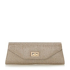 Head Over Heels by Dune - Gold 'Brava' fold over turn lock clutch bag