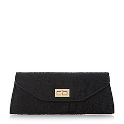 Head Over Heels by Dune - Black fold over turn lock clutch bag
