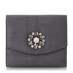 Head Over Heels by Dune - Grey 'Bilaro' brooch detail fold over clutch bag