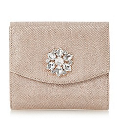 Head Over Heels by Dune - Gold 'Bilaro' brooch detail fold over clutch bag