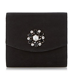 Head Over Heels by Dune - Black brooch detail fold over clutch bag