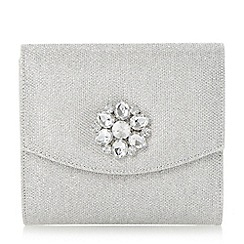 Head Over Heels by Dune - Silver 'Bilaro' brooch detail fold over clutch bag