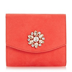 Head Over Heels by Dune - Dark peach 'Bilaro' brooch detail fold over clutch bag